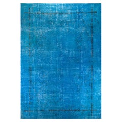 One of a Kind Distressed Midcentury Rug Overdyed in Blue Color