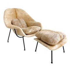 One-of-a-Kind Eero Saarinen Womb Chair and Ottoman Restored in Brazilian Cowhide