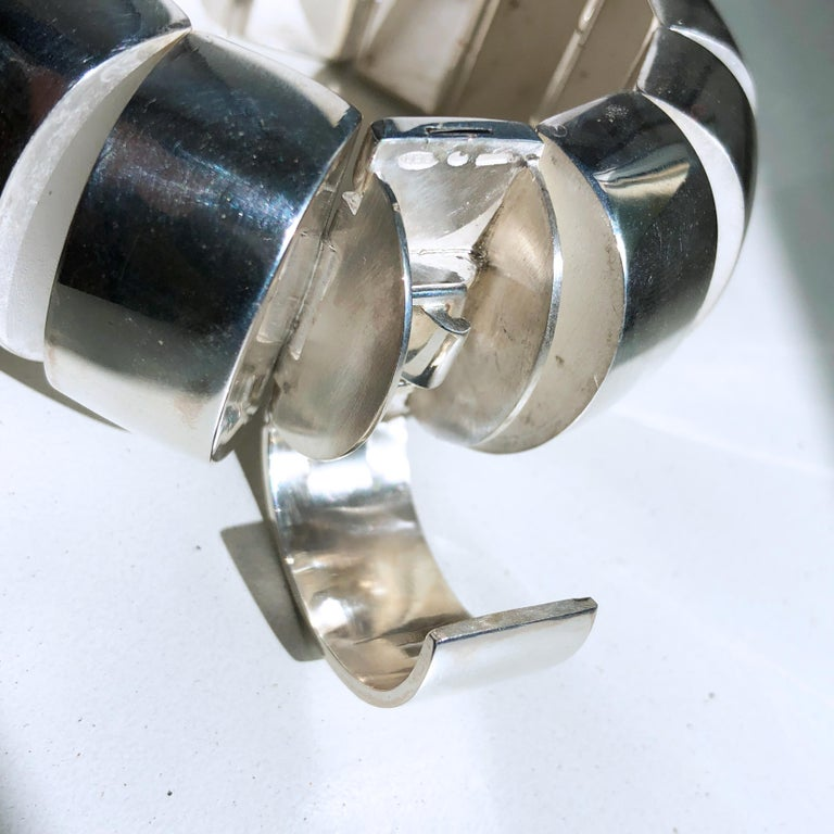 One of a Kind Extraordinary Original 1980s Sterling Silver Pomellato Bracelet For Sale 9