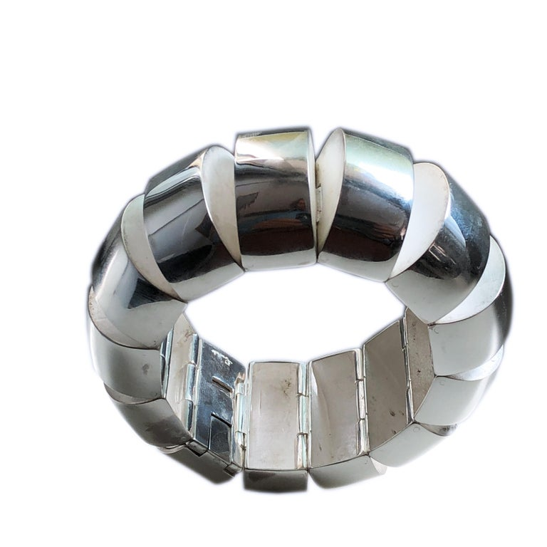 Extremely Rare, Chic and Timeless Sterling Silver Pomellato Bracelet: less than ten pieces of this Complicated, Sculptural Model were Hand Crafted in Pomellato Atelier in 1981.  This one-of-a-kind piece comes form a Pomellato Collector's and it is