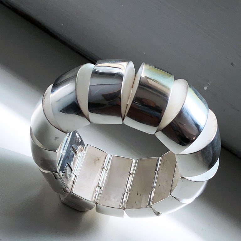 One of a Kind Extraordinary Original 1980s Sterling Silver Pomellato Bracelet In Excellent Condition For Sale In Valenza, IT