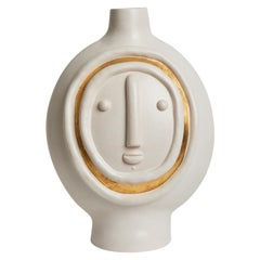 One of a Kind Face Ceramic Base Lamp Signed by Dalo