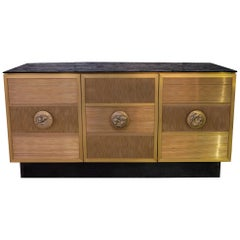 One of a Kind Flair Edition Brass Wire Sideboard, Black Glass Top, Italy, 2020