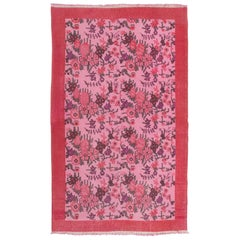 One of a Kind Floral Design Pink Central Anatolian Rug