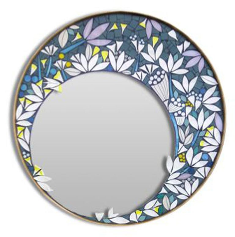 French One of a Kind Floral Geometric Artist's Round Mosaic Wall Mirror, France For Sale
