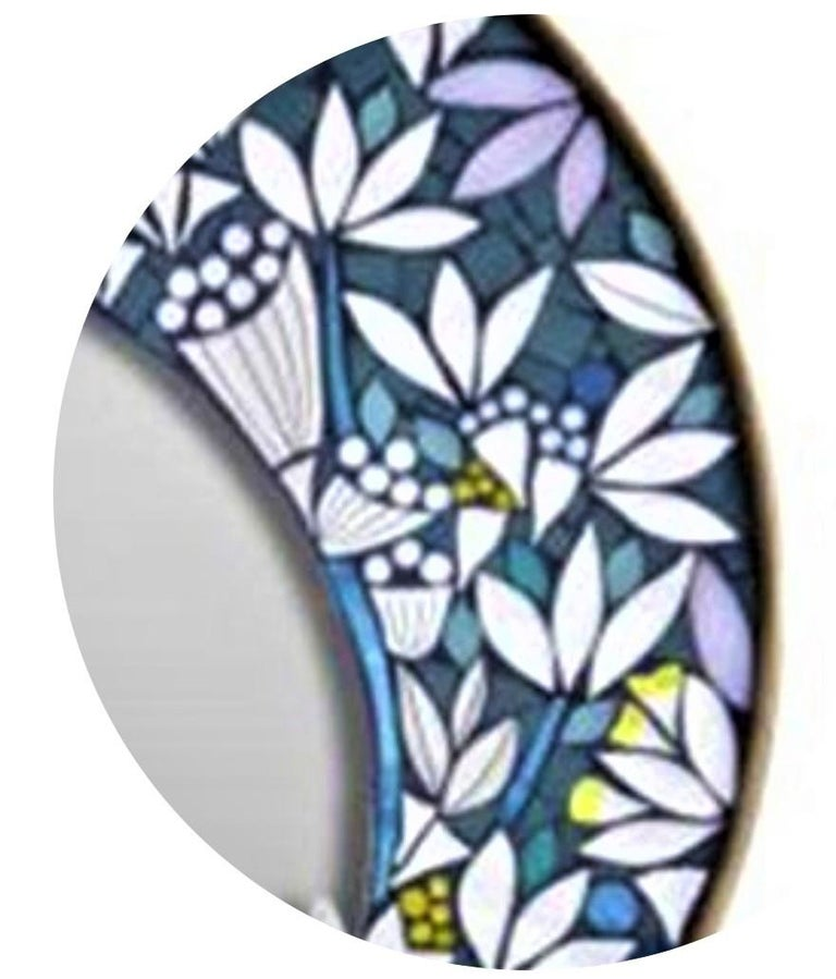 Hand-Crafted One of a Kind Floral Geometric Artist's Round Mosaic Wall Mirror, France For Sale