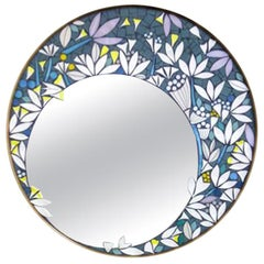 One of a Kind Floral Geometric Artist's Round Mosaic Wall Mirror, France