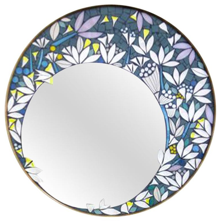 One of a Kind Floral Geometric Artist's Round Mosaic Wall Mirror, France For Sale