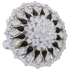 One of a Kind Flower Diamond and Black Enamel Fashion Cocktail Ring