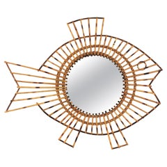 One of a Kind French 1950s Rattan Fish Shaped Mirror