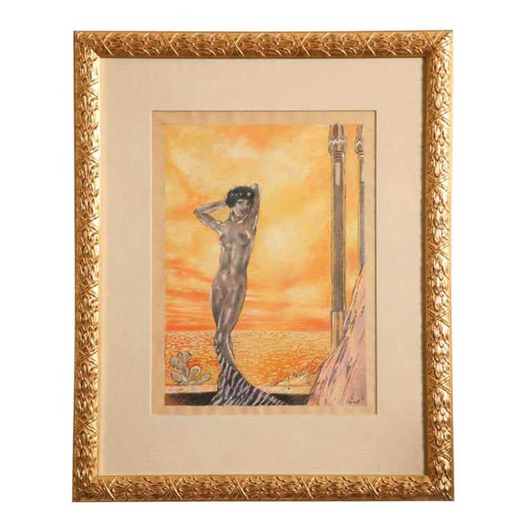 One of a Kind French Art Deco Watercolor by Eduard Chimot Custom Framed For Sale
