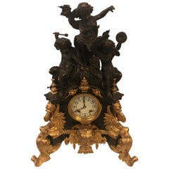 One of a Kind French Patinated and Dore Bronze Figural Mantle Clock