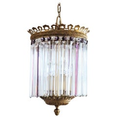 One of a Kind French Regency Gilt Bronze Crystal Four-Light Lantern Chandelier
