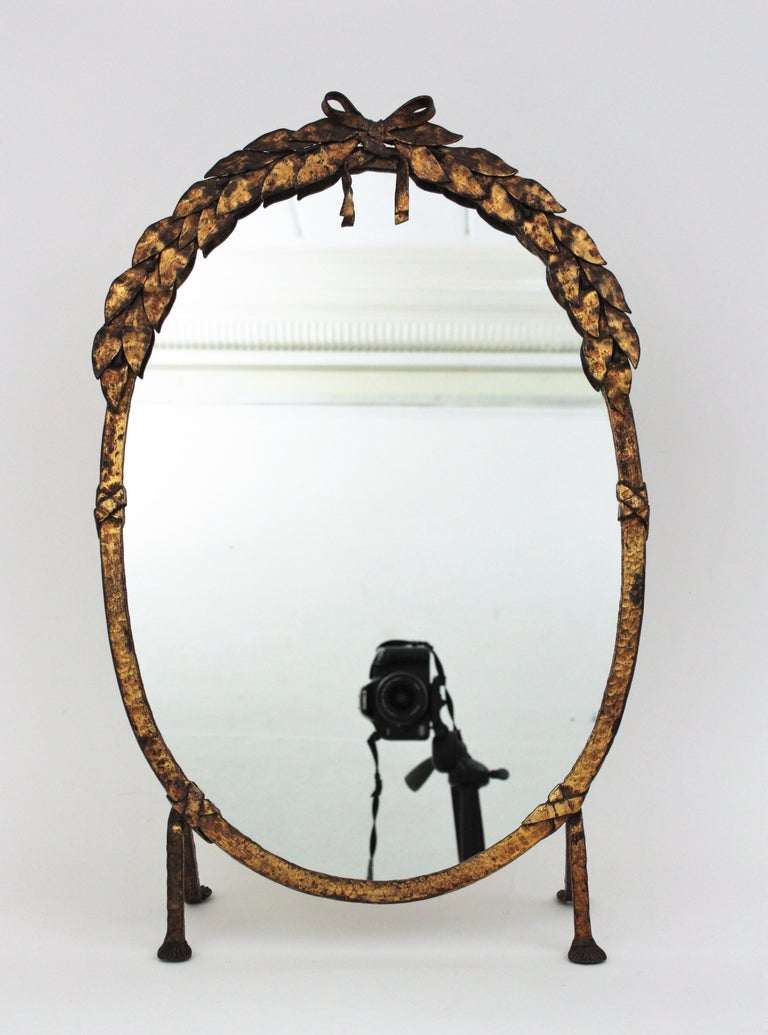 One of a Kind French Vanity Mirror in Gilt Hand Forged Iron, 1940s For Sale 5