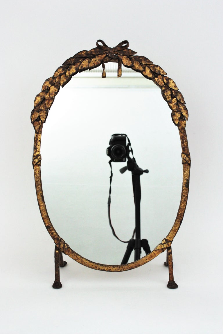 One of a Kind French Vanity Mirror in Gilt Hand Forged Iron, 1940s For Sale 6