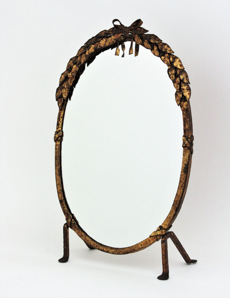 One of a Kind French Vanity Mirror in Gilt Hand Forged Iron, 1940s For Sale 7
