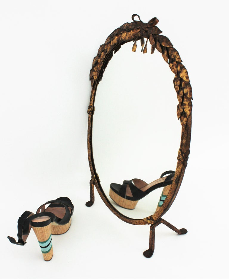 One of a Kind French Vanity Mirror in Gilt Hand Forged Iron, 1940s For Sale 8