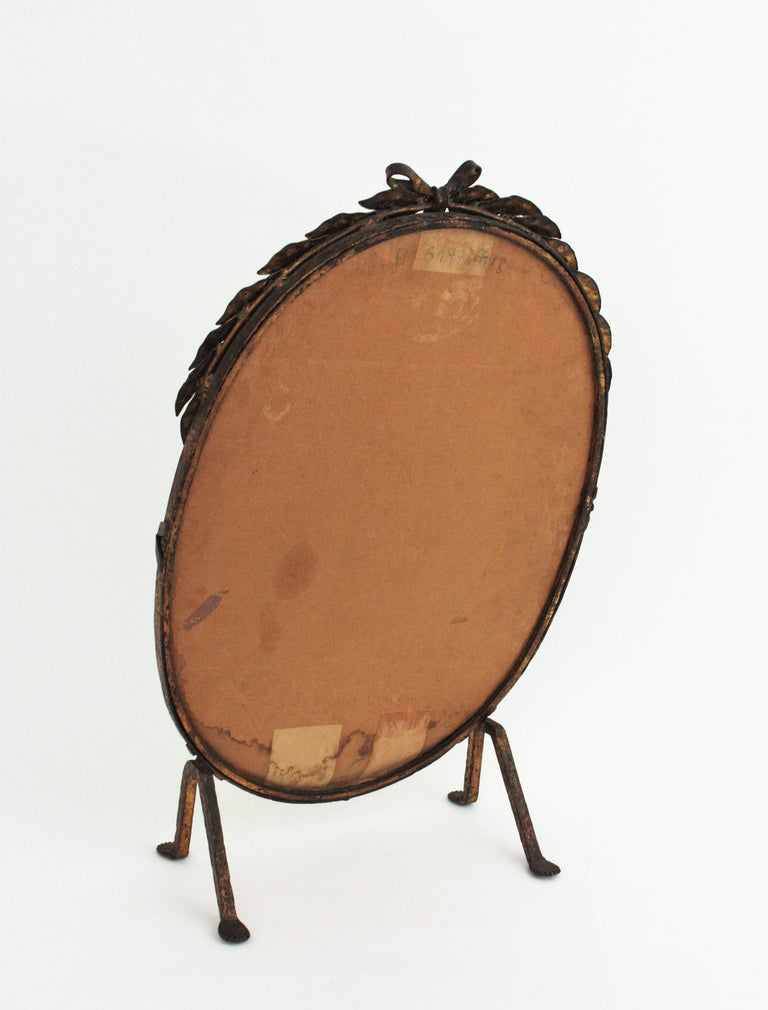 One of a Kind French Vanity Mirror in Gilt Hand Forged Iron, 1940s For Sale 10
