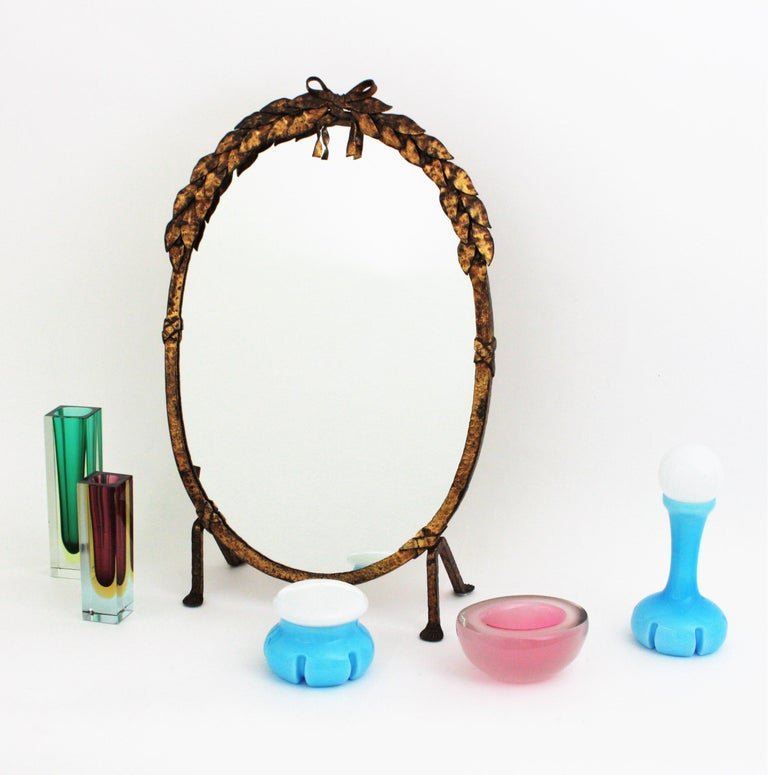 One of a Kind French Vanity Mirror in Gilt Hand Forged Iron, 1940s For Sale 11