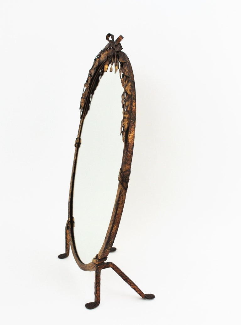Wrought Iron One of a Kind French Vanity Mirror in Gilt Hand Forged Iron, 1940s For Sale