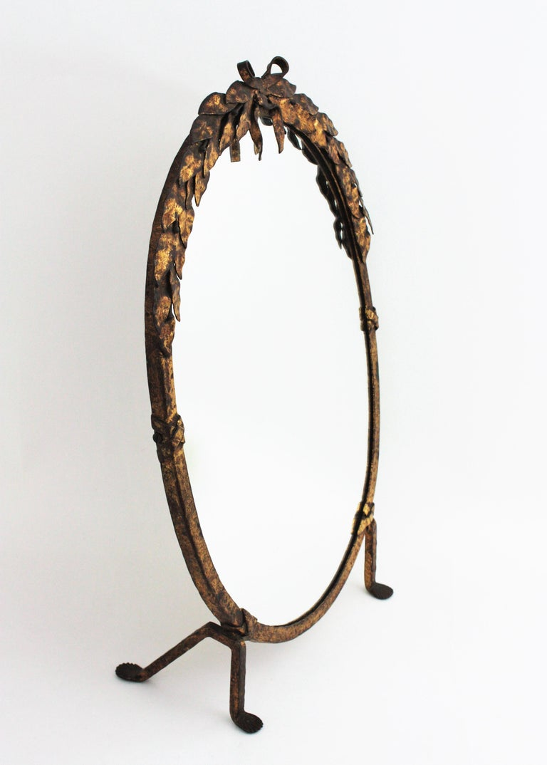 One of a Kind French Vanity Mirror in Gilt Hand Forged Iron, 1940s For Sale 1