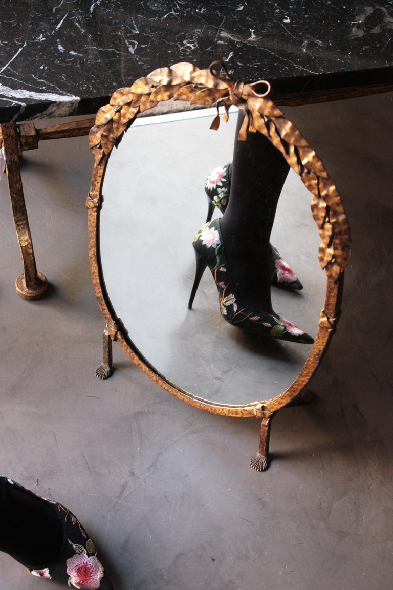 One of a Kind French Vanity Mirror in Gilt Hand Forged Iron, 1940s For Sale 2