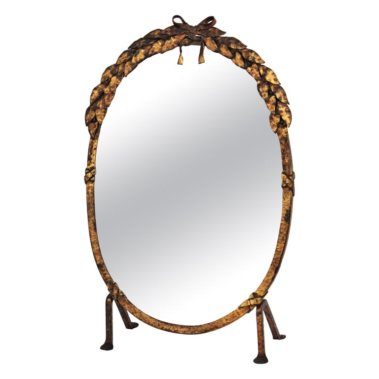 One of a Kind French Vanity Mirror in Gilt Hand Forged Iron, 1940s For Sale