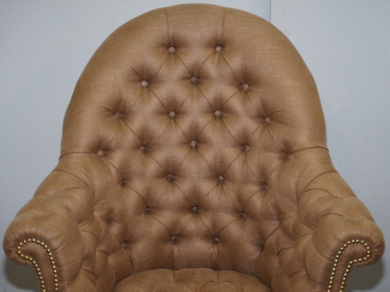 English One of a Kind Fully Restored Mahogany Chesterfield Captains Directors Armchair For Sale