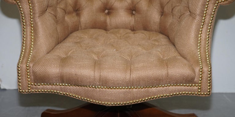 One of a Kind Fully Restored Mahogany Chesterfield Captains Directors Armchair For Sale 2