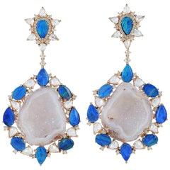 One of a Kind Geode 10.4 Carat Opal Diamond Earrings