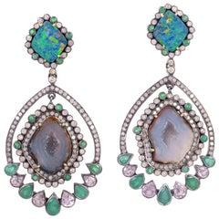 One of a Kind Geode 18.3 Carat Opal Diamond Emerald Earrings