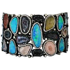 25.22 Carat Geode Druzy Opal Diamond Bracelet One of a Kind