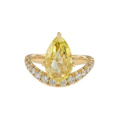 One of a Kind GIA 2.95 Carat Briolette Cut Fancy Intense Yellow Diamond Ring