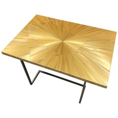 One of a Kind Gold Straw Marquetry Coffee Side Table, France