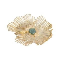 One of a Kind Green Diamond Slice Ivory Enamel 18 Karat Gold Brooch