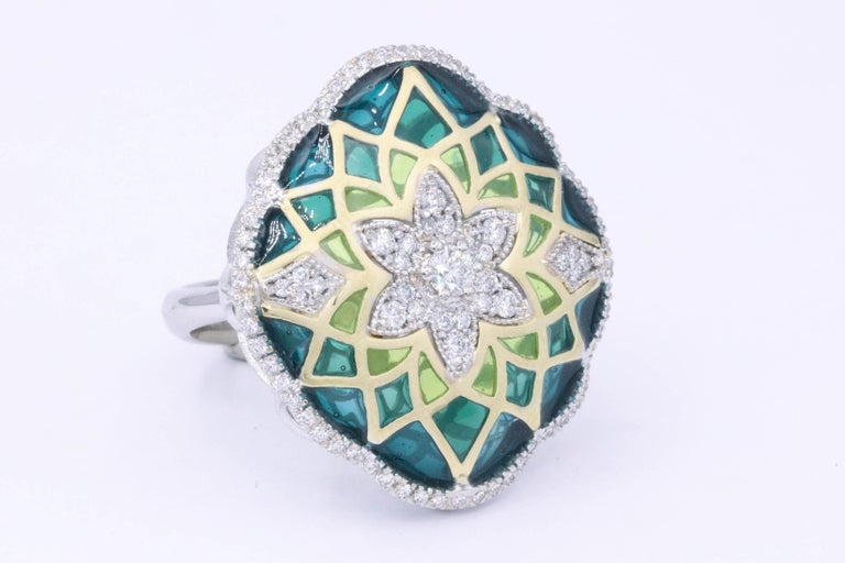 Contemporary Italian Green Enamel and Diamond Floral Cocktail Ring 0.73 Carats 18K For Sale