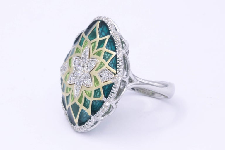 Round Cut Italian Green Enamel and Diamond Floral Cocktail Ring 0.73 Carats 18K For Sale