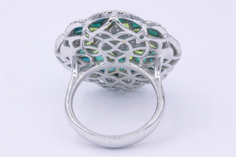 Italian Green Enamel and Diamond Floral Cocktail Ring 0.73 Carats 18K In New Condition For Sale In New York, NY