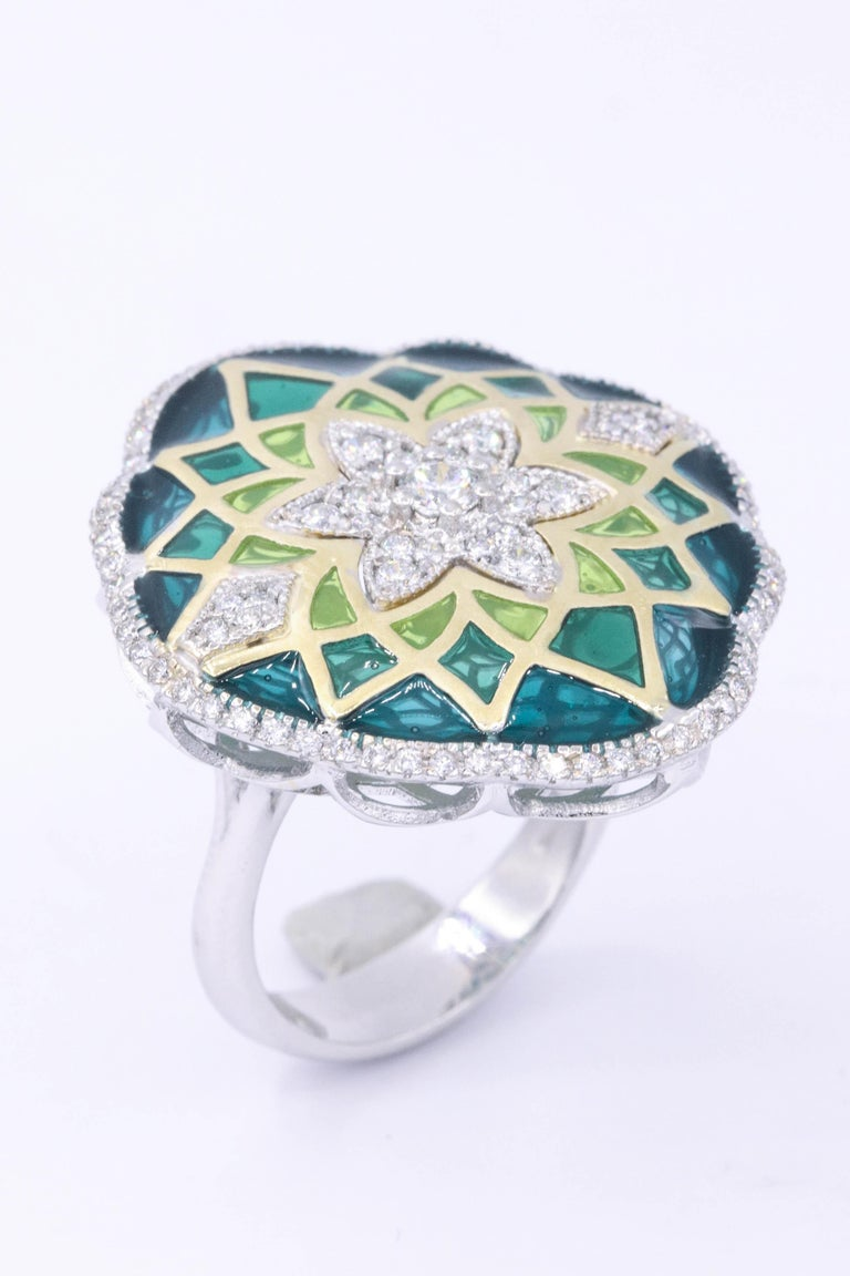 Women's Italian Green Enamel and Diamond Floral Cocktail Ring 0.73 Carats 18K For Sale