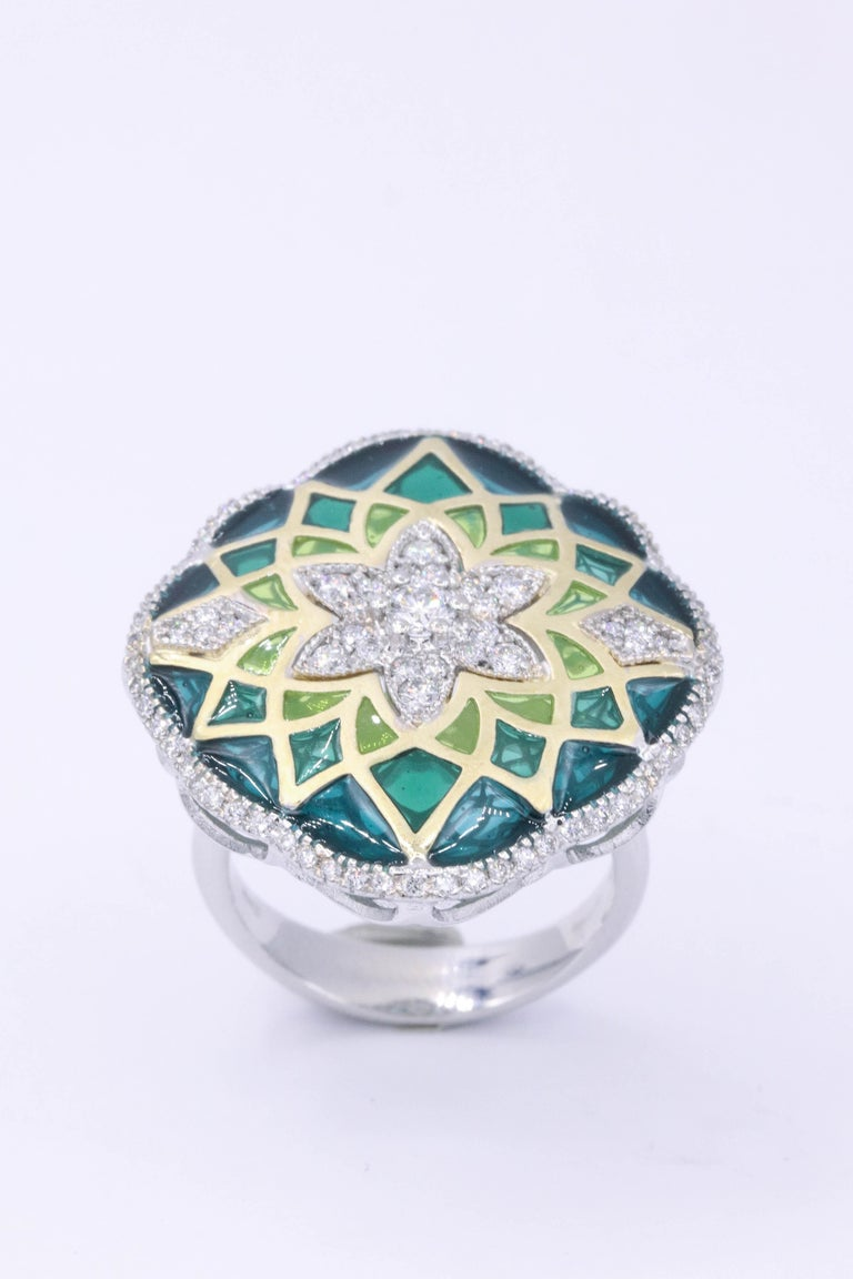 Italian Green Enamel and Diamond Floral Cocktail Ring 0.73 Carats 18K For Sale 1