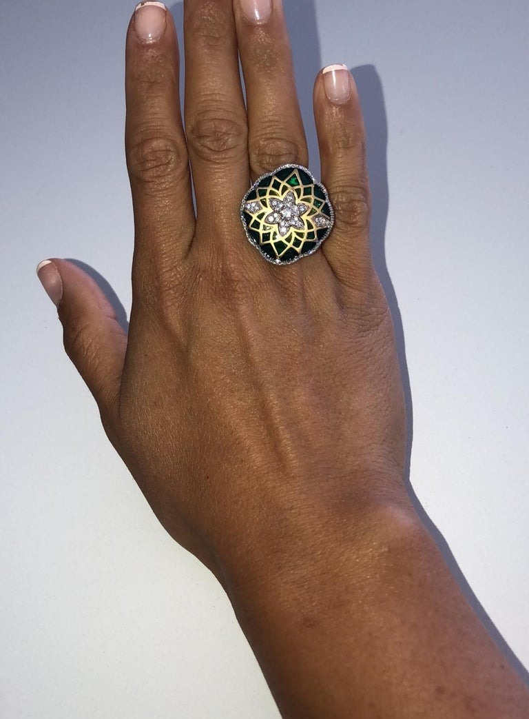 Italian Green Enamel and Diamond Floral Cocktail Ring 0.73 Carats 18K For Sale 2