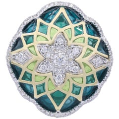 Italian Green Enamel and Diamond Floral Cocktail Ring 0.73 Carats 18K
