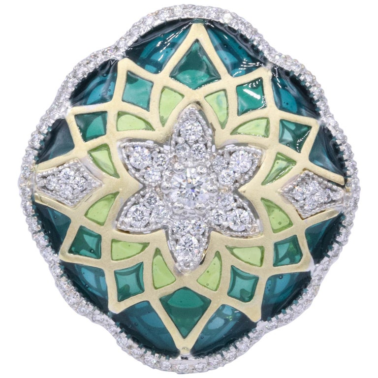 Italian Green Enamel and Diamond Floral Cocktail Ring 0.73 Carats 18K For Sale