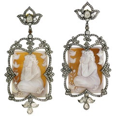 One of a Kind Hand Carved Shell Cameo with Diamond Motif Around