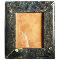 One-of-a-kind Hand Inlaid Natural Labradorite Champagne Diamond Picture Frame