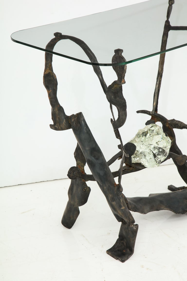 One of a Kind Handcrafted Iron and Glass Sculptural Brutalist Console, Italy For Sale 5