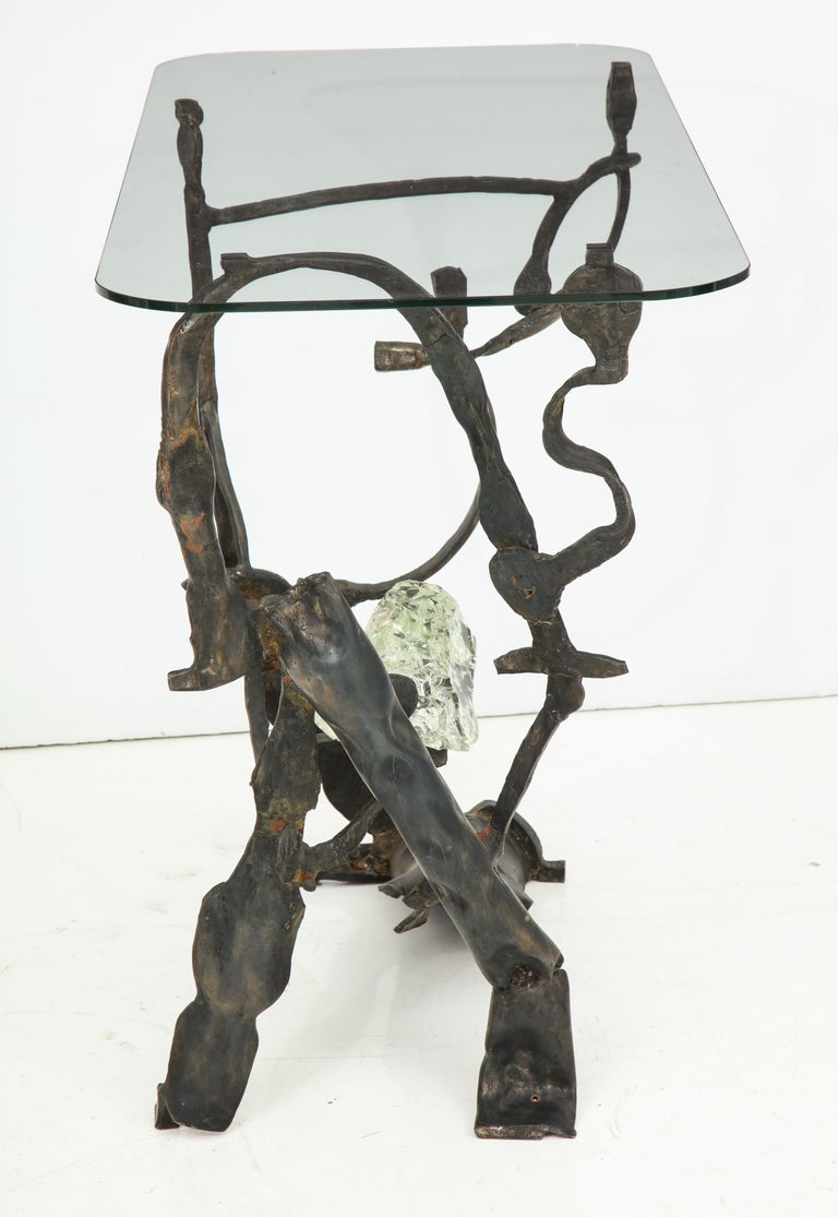 One of a Kind Handcrafted Iron and Glass Sculptural Brutalist Console, Italy For Sale 8