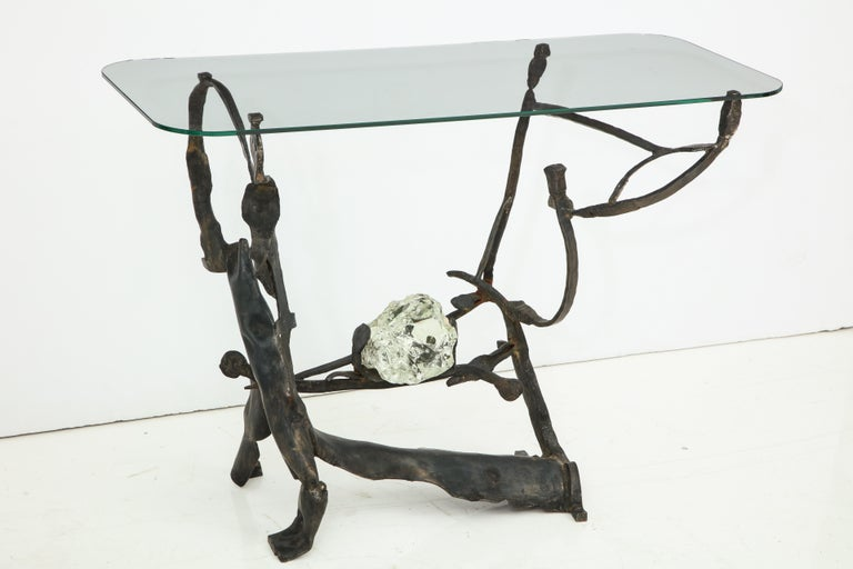 Contemporary One of a Kind Handcrafted Iron and Glass Sculptural Brutalist Console, Italy For Sale