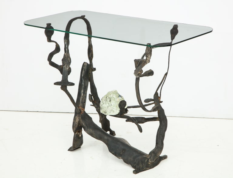 One of a Kind Handcrafted Iron and Glass Sculptural Brutalist Console, Italy For Sale 1