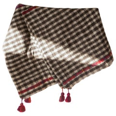 One of a Kind Handwoven Wool Throw in Checkered with Red Tassels, in Stock